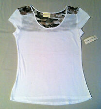 Women's White Sheer Cap Sleeve T-Shirt With Camo Rose Lace Back New