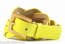 Vince Camuto Women's Twisted Lemon Yellow Leather Belt NWT 185277 Size S