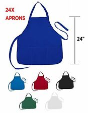 24 Aprons Commercial Restaurant Home Bib Spun Poly Cotton Bulk Wholesale 2 Dozen