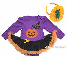 Halloween Witch Pumpkin Print Purple Bodysuit Girl Black Baby Dress NB-18Month