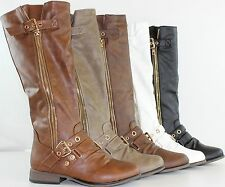 NEW Women's Hot Fashion Knee High Riding Flat Heel Boots Faux Leather Shoes