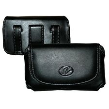 For LG Phone Black Horizontal Premium Leather Pouch w/ Built-in Belt Clip