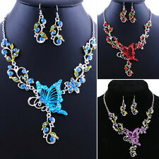 New Elegant Butterfly Flower Rhinestone Pendant Necklace Earrings Jewelry Set