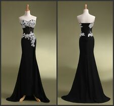 2014 Latest Sexy Black Applique Chiffon Prom/Evening/Party Dress2/4/6/8/10/12/14