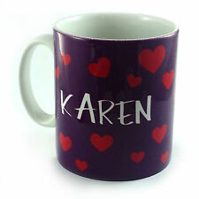 HEARTS HEART PATTERN PERSONALISED WITH ANY NAME TEXT MESSAGE GIFT MUG CUP LOVE