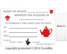 Coco&Bo Alice in Wonderland Mad Hatters Tea Party Invites Queen of Hearts Party