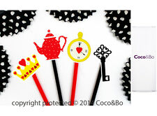 Coco&Bo Don't Be Late Cupcake Toppers Alice in Wonderland Mad Hatters Tea Party