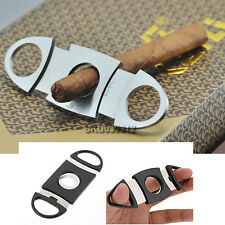 Stainless Steel Double Blades Guillotine Cigar Cutter Pocket Knife Scissors
