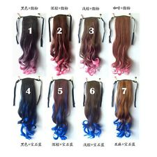 Women Ombre Gradient Hair Piece Extensions Ponytail Wavy Cosplay Long Pink/Blue