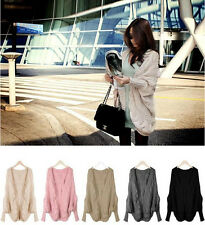 New Oversized Loose Knitted Sweater Batwing Sleeve Tops Outwear Coat Cardigan