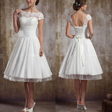 White/Ivory Short Sleeve Vintage Lace Short Wedding Dress 4 6 8 10 12 14 16 18++