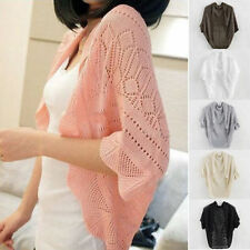 Ladies Crochet Knit Shawl Batwing sleeve Hollow Out Shrug Cardigan Top Sweater