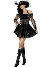 Ladies Black Pirate Queen Buccaneer Party Outfit Fancy Dress Costume