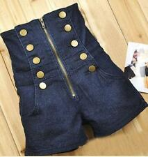 Double Breasted Zipper SKMY Vintage High Waist shorts Womens jean Pants