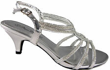WOMENS DIAMONTE EVENING WEDDING STRAPPY SANDALS LOW KITTEN HEEL SILVER  3-8 UK