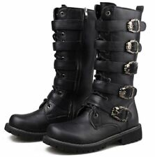Men's Knee High Boot gothic lace cosplay black buckle strap Army Military shoes