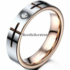 5mm Tungsten Carbide Rose Gold Tone Cross Grooved Wedding Band Engagement Ring