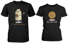 Cute Matching Couple Shirts - Milk and Chocolate Chip Cookie