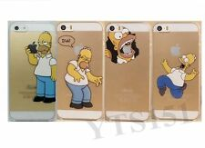 Funny Cartoon Homer Simpson Clear Transparent Hard Case Cover For iPhone 4 5S 5C