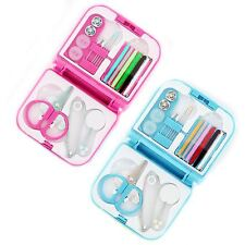 New 21pc Travel Sewing Kit Thread Needles Mini Case With Scissors Tape Pins Set