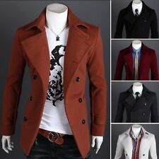 Autumn Winter New Men Double-breasted Slim Fit Coat Jacket Blazer Outwear Casual
