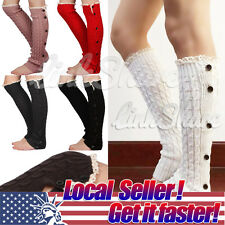 2014 Crochet Lace Trim Button Down Braid Leg Knit Warmers Boot Socks Knee High