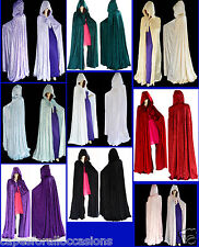 HALLOWEEN BLACK VELVET UN-LINED GOTHIC CLOAK CAPE HOODED WICCA MEDIEVAL LARP SCA
