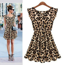 New Women Sexy Leopard Summer Casual Evening ClubWear Cocktail Party Mini Dress