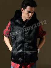 Mens 100% Real Rabbit Fur Vest Gilet Jacket Coat Waistcoat Hoodie Black Warm New