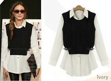 T23 2014 New Fall Long Sleeve Blouse Shirt + Sleeveless Sweater Two-piece Outfit