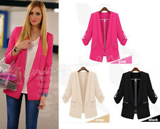 Fashion Lady Europe Candy Color Solid Slim Casual Suit OL Blazer Coat Jacket