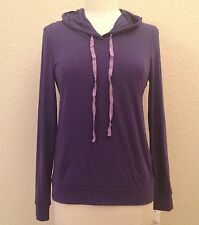 NEW Alfani Long Sleeve Hooded Microfiber Knit Pajama Top 231018 Neo Violet S