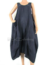 NEW Italian Empire line Linen Oversize Panel Lagenlook Parachute Maxi Dress