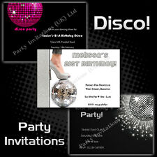 Personalised DISCO Birthday Party Invitations 18th 21st 30th 40th 50th 60th