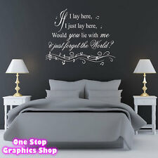 IF I LAY HERE SNOW PATROL WALL ART QUOTE STICKER -  BEDROOM LOUNGE SONG DECAL
