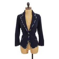 ANTHROPOLOGIE GIBSON BLAZER WITH PLAID NAVY BLUE KNIT JACKET CAREER S M L P B25