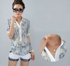 Ladies chiffon shirt body tops floral print short sleeve stand collar blouses