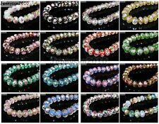 Lampwork Glass Interior Rose Flower Faceted Rondelle Spacer Loose Beads Charms