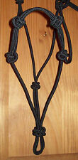 """HORSE ROPE HALTER PRO 1/4"""" STIFF  TRAINING, RIDING, BLACK, YOU SELECT YOUR SIZE"""