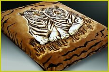 NEW!! 2 ply 2 Sided QUEEN MINK BLANKET- TIGERS  & LEOPARD ANIMAL PRINT BROWNS