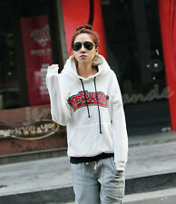 Fashion Women Europe White Letter Hoodies Tops Casual Blouse Loose T-shirt S-XXL