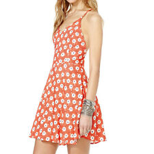 "Coral Red Daisy Flower Print ""V"" Collar Back Cross Belt Above Knee Skirt Dress"