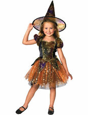 Child Girls Elegant Witch w Hat Kid Halloween Outfit Fancy Dress Costume