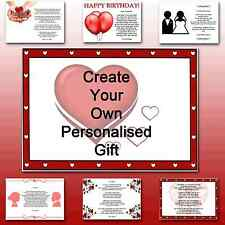 ♥ Personalised Poem ♥ To my girlfriend or boyfriend gift for her or him birthday