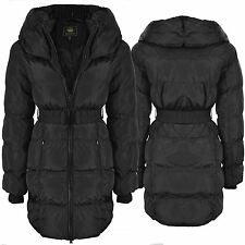 Ladies Thick Padded Quilted Warm Winter Long Puffa Parka Coat Jacket Size 8 - 16