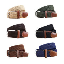 Unisex Men Women Stretch Braided Elastic Leather Buckle Belt Waistband