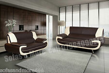 NEW 3+2 SEATER LEATHER SOFA SET BROWN CREAM 3 SEATER 2 SEATER CORNER SOFA