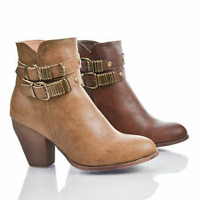 Reven1D Almond Toe Double Antique Buckle Zip Up Block Heel Ankle Boots