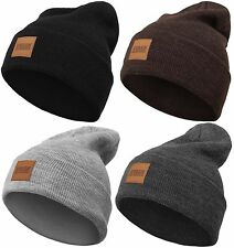 Urban Classics Leather Patch Long Beanie Winter Hat Heavy Ski Jersey Basic Flap