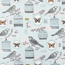 Birdcage & Butterfly Duckegg Floral Oilcloth Wipeclean PVC Vinyl Tablecloth